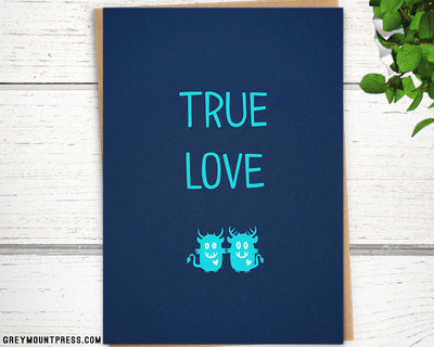 "Monsters in love ""True Love"" card, 5""x7"" - Greymount Paper & Press"