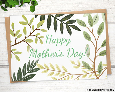 mothers day card with leaves and branches