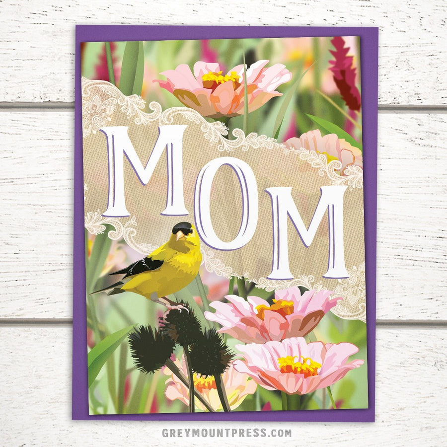 Greeting cards greymount paper and press of albany ny greymount mom card with goldfinch m4hsunfo
