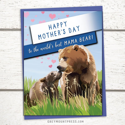 world's best mama bear mothers day card