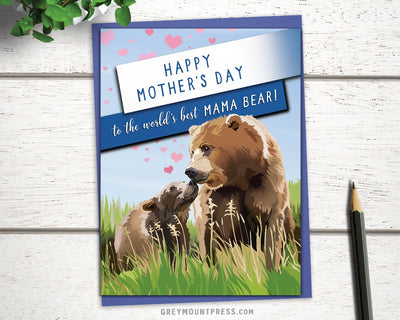 world's best mama bear card for mother's day