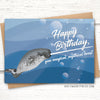 Narwhal birthday card for guys. Ocean birthday card.