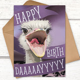 Ostrich happy birthday card