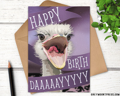 Ostrich happy birthday card for friends