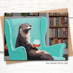 Otter greeting card: Otter with brandy snifter