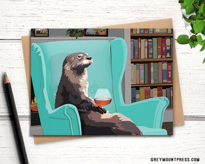 Funny otter birthday card