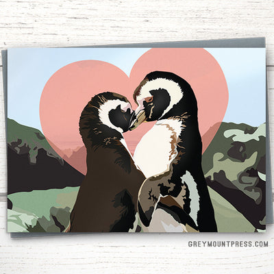 Penguin greeting card for valentine's day