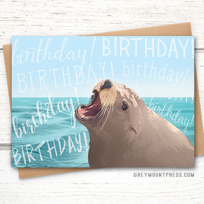 funny sea lion birthday card