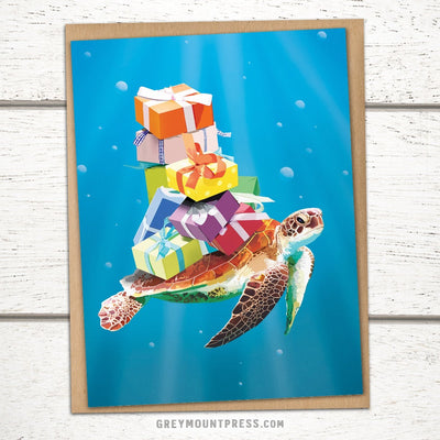 Sea turtle card for friend. Ocean birthday card.