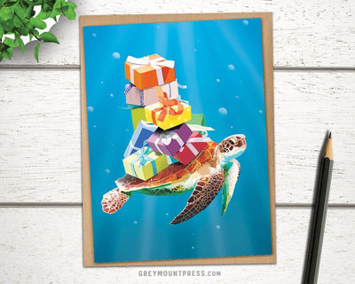 Ocean sea turtle greeting card for friends