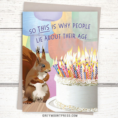 Over the hill card. Funny squirrel birthday card for friends