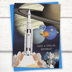 Have a stellar birthday Space birthday card with planets