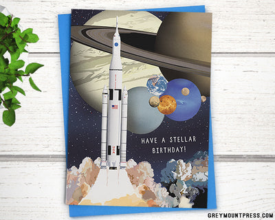 NASA birthday card. Planets birthday card