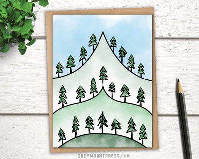 Summiting greeting card for friends and nature lovers
