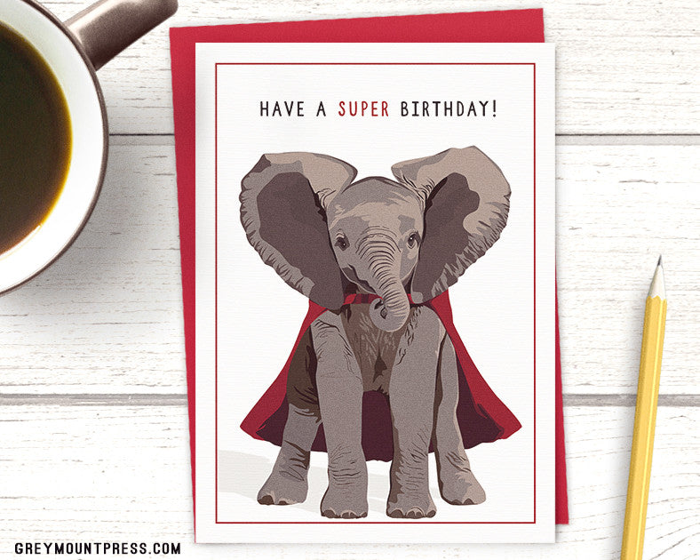 Caped Elephant Birthday Card Have A Super Birthday Greeting Card