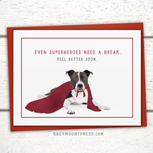 Caped Dog Get Well Card: Duncan the Pitbull
