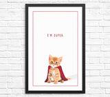 Funny cat wall art print