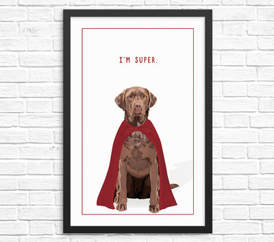 Funny labrador wall art print chocolate