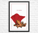 Funny octopus wall art print