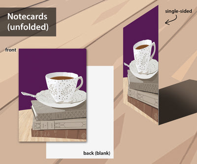Booklover's Collection: Teacup notecard set with 5 designs