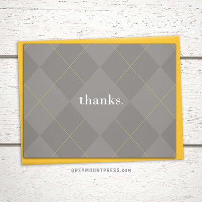 Argyle thank you card for men
