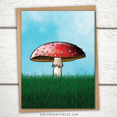Cheerful Red Toadstool Greeting Card. Mushroom Card for Gardeners.
