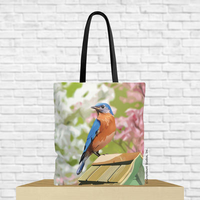 bluebird tote bag with bluebird