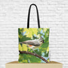 tufted titmouse bird tote bag with bird