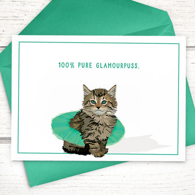 "Our tutu Maine coon kitten ""100% glamourpuss"" A6 cat card - Greymount Paper & Press"