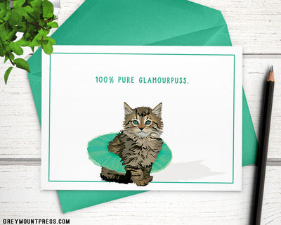 "Our Tutu Maine Coon Kitten: ""100% glamourpuss"" cat card"
