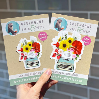 Biblio Typewriter in Bloom Clear Sticker