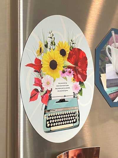 Biblio Typewriter in Bloom oval refrigerator magnet