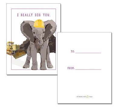 """I really dig you"" Classroom-style mixed Valentine Packs, 3""x4"" - Greymount Paper & Press"