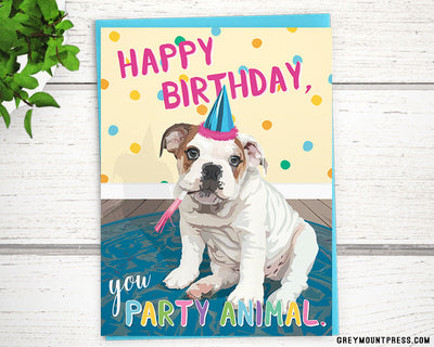 English bulldog funny birthday cards