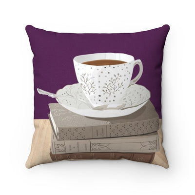 Booklover's Collection :: Teacup, Jane Austen, & Charlotte Brontë Throw Pillow