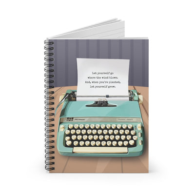 Spiral notebook with typewriter design, perfect gift for book lovers