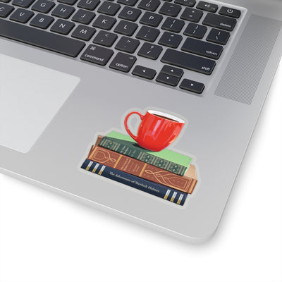 Sticker for bookworms. Tea and books sticker. Vinyl sticker.