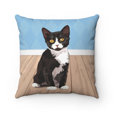 Tuxedo cat pillow. Tuxedo cat home decor.