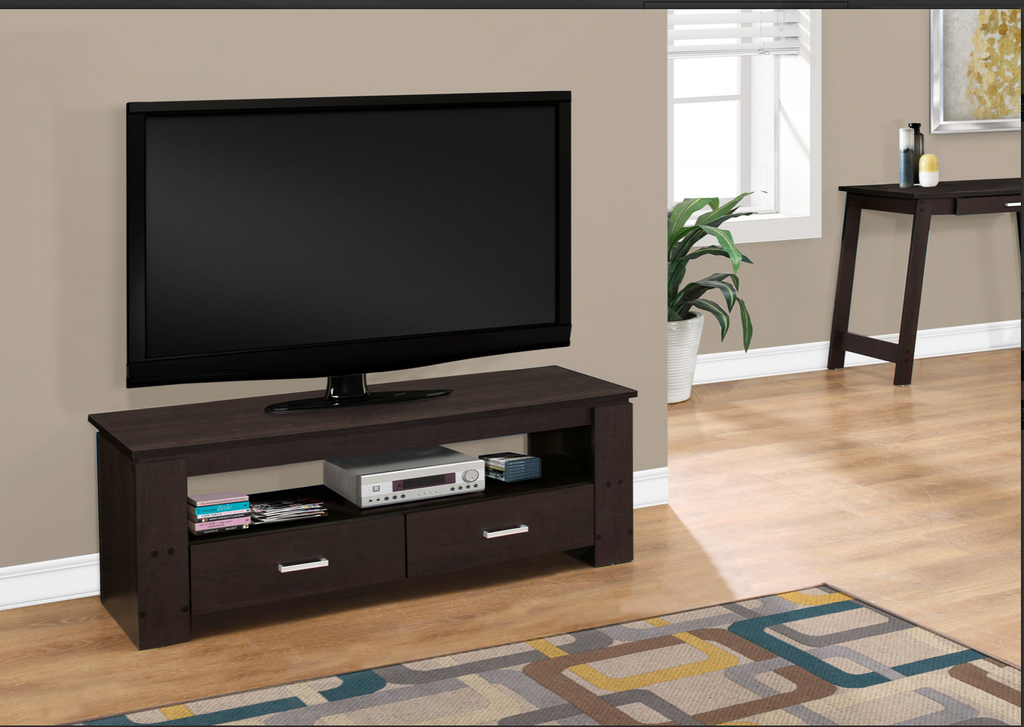 "MEUBLES DE TV  I 2600 /TV STAND - 48""L / CAPPUCCINO WITH 2 STORAGE DRAWERS"