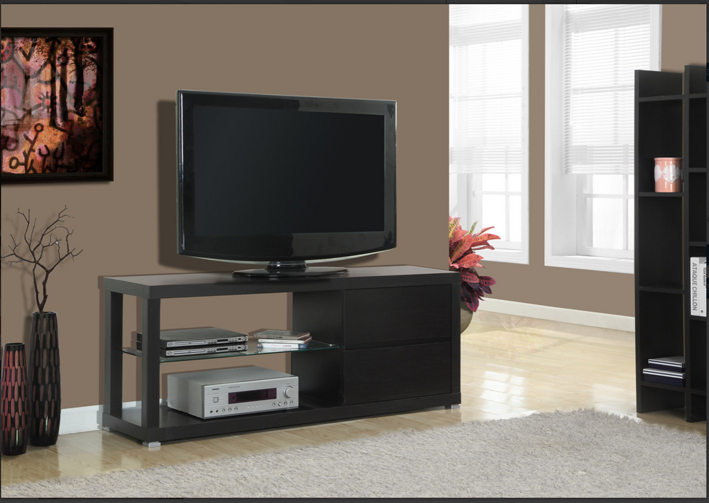 "MEUBLE TV /TV STAND - 60""L / CAPPUCCINO WITH TEMPERED GLASS SKU: I 2581"
