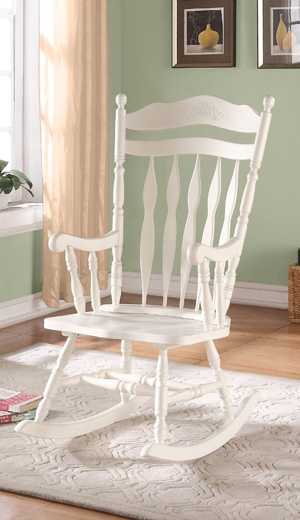 antique white embossed back solid wood rocking chair. Black Bedroom Furniture Sets. Home Design Ideas