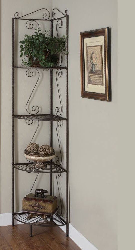 copper metal 70 h corner display etagere etagere decorative de coin 70 meublescasa. Black Bedroom Furniture Sets. Home Design Ideas