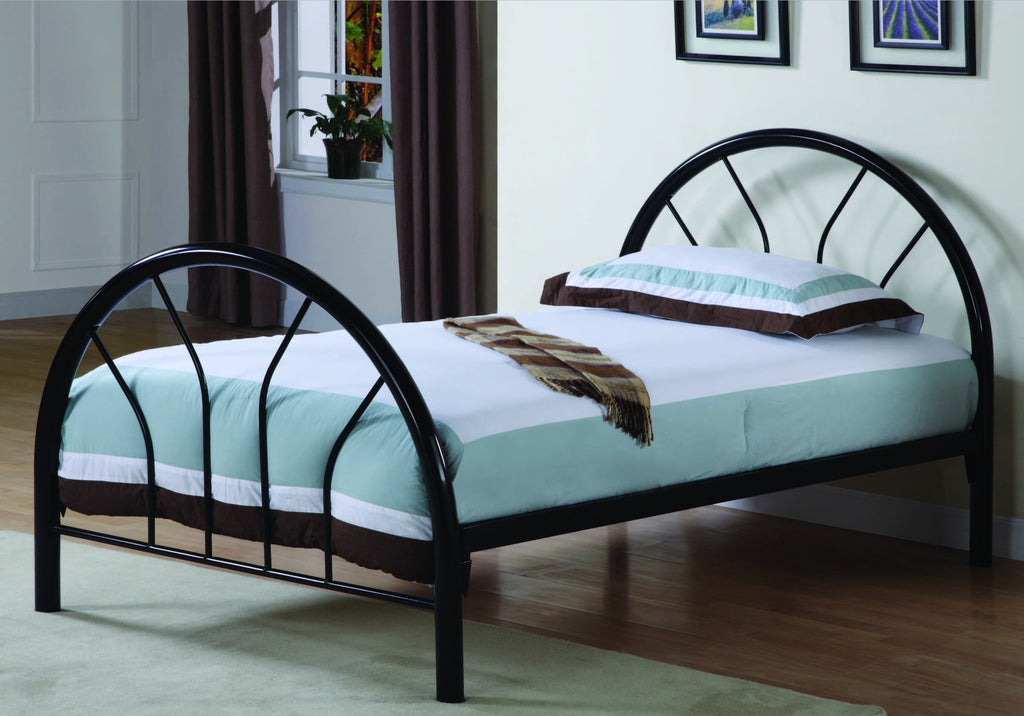 BLACK METAL TWIN BED FRAME ONLY BASE METAL NOIR POUR LIT SIMPLE