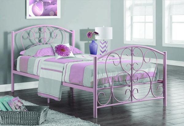 pink metal twin size bed frame only base metal rose pour lit simple meublescasa. Black Bedroom Furniture Sets. Home Design Ideas