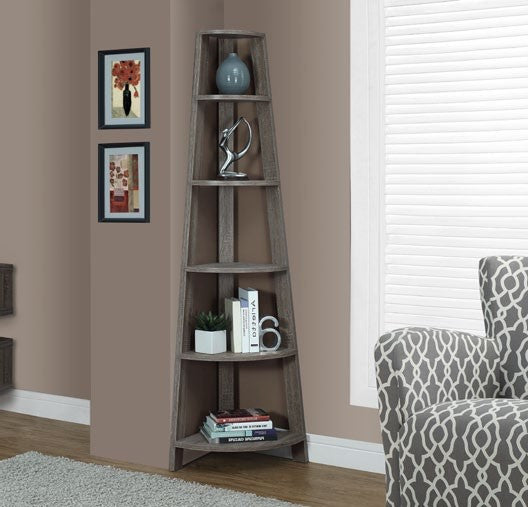 dark taupe reclaimed look 72 h corner accent etagere etagere en coin d meublescasa. Black Bedroom Furniture Sets. Home Design Ideas