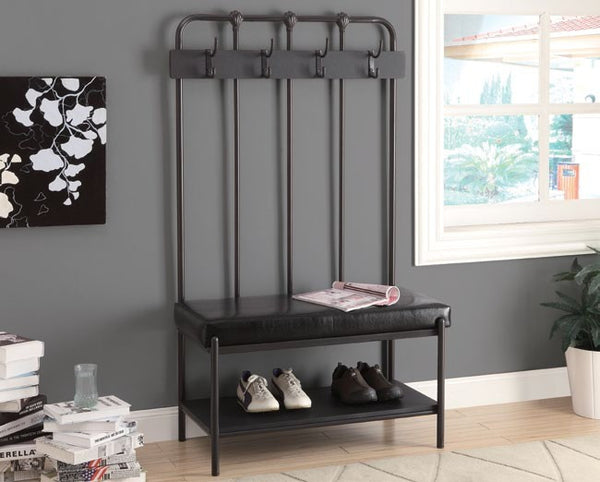 Charcoal Grey Metal 60 Quot H Hall Entry Bench Banc D Entree 60 Quot H Metal Gri Meublescasa