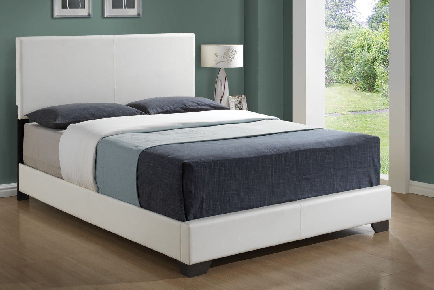 white leather look queen size bed lit queen simili cuir blanc - Lit Queen Size
