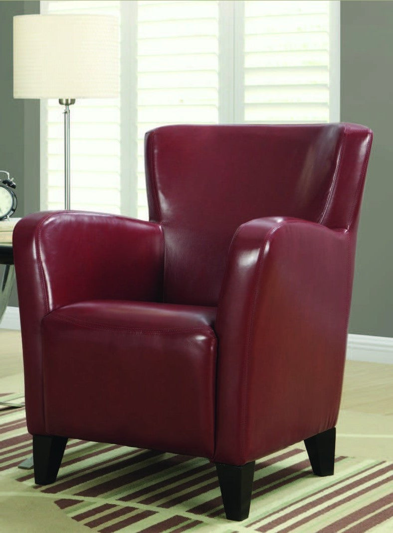 Red Leather Look Club Chair Fauteuil Club Simili Cuir Rouge