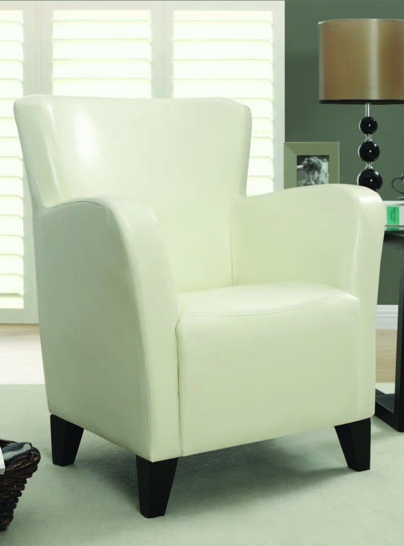 Ivory Leather Look Club Chair Fauteuil Club Simili Cuir Ivoire