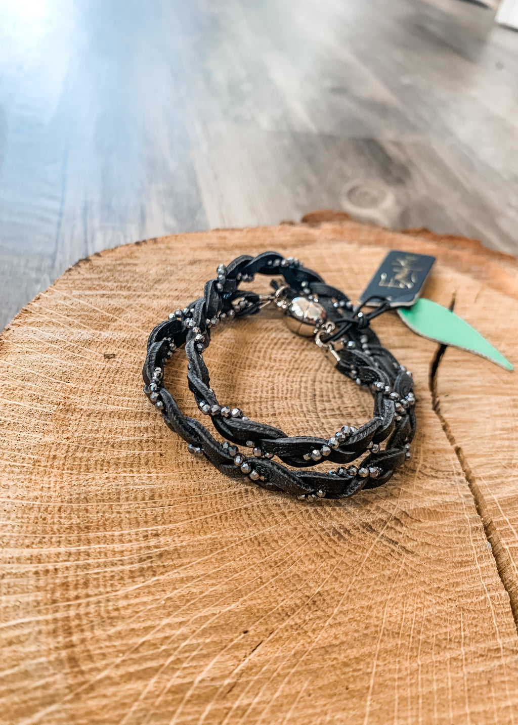 Braided Choker Black with Titanium - Lois Pearl Designs